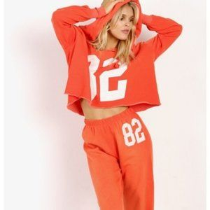 WILDFOX Freddy Number 82 Orange Graphic Hoodie XS